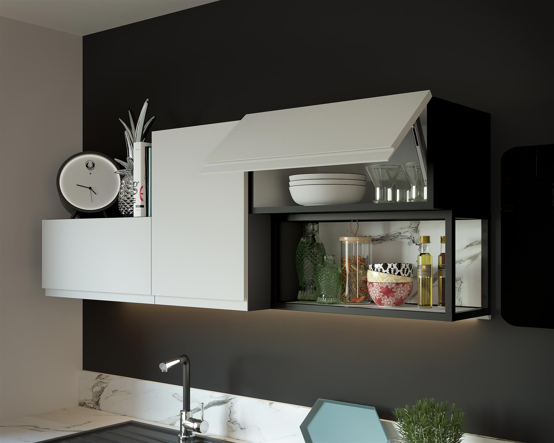 3D image of a kitchen furniture unit for an adverstising project