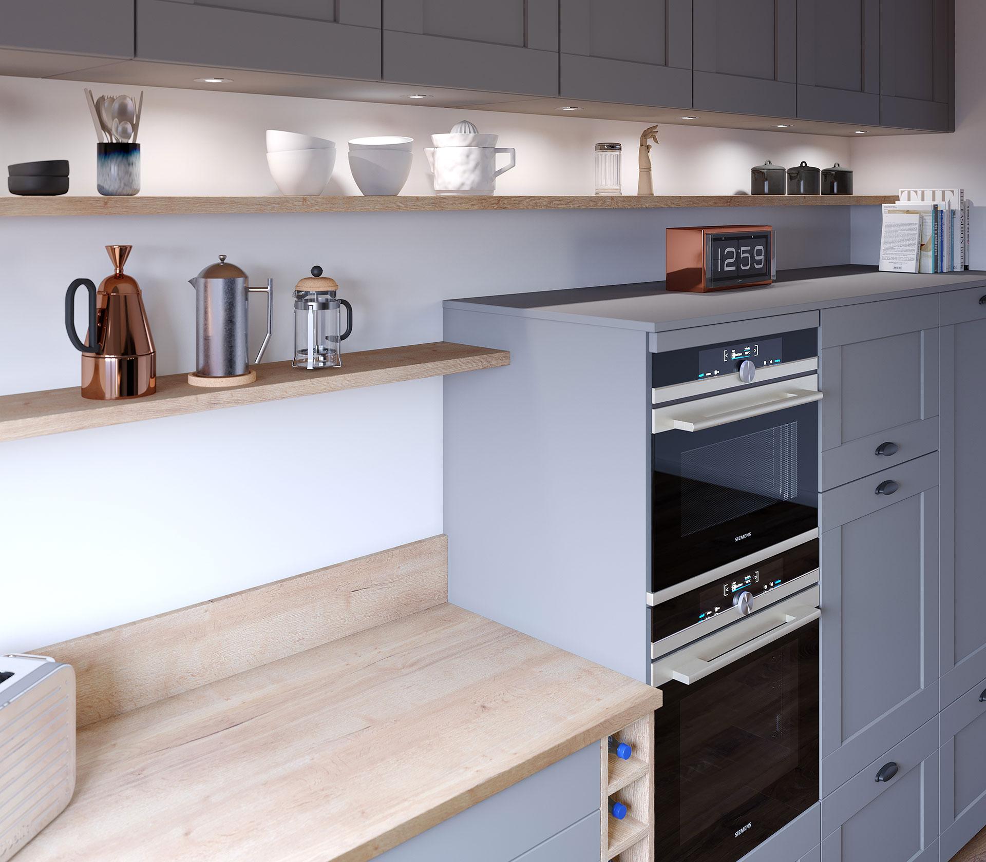 Création de photo réaliste 3D d'étagère de cuisine moderne pour un projet publicitaire