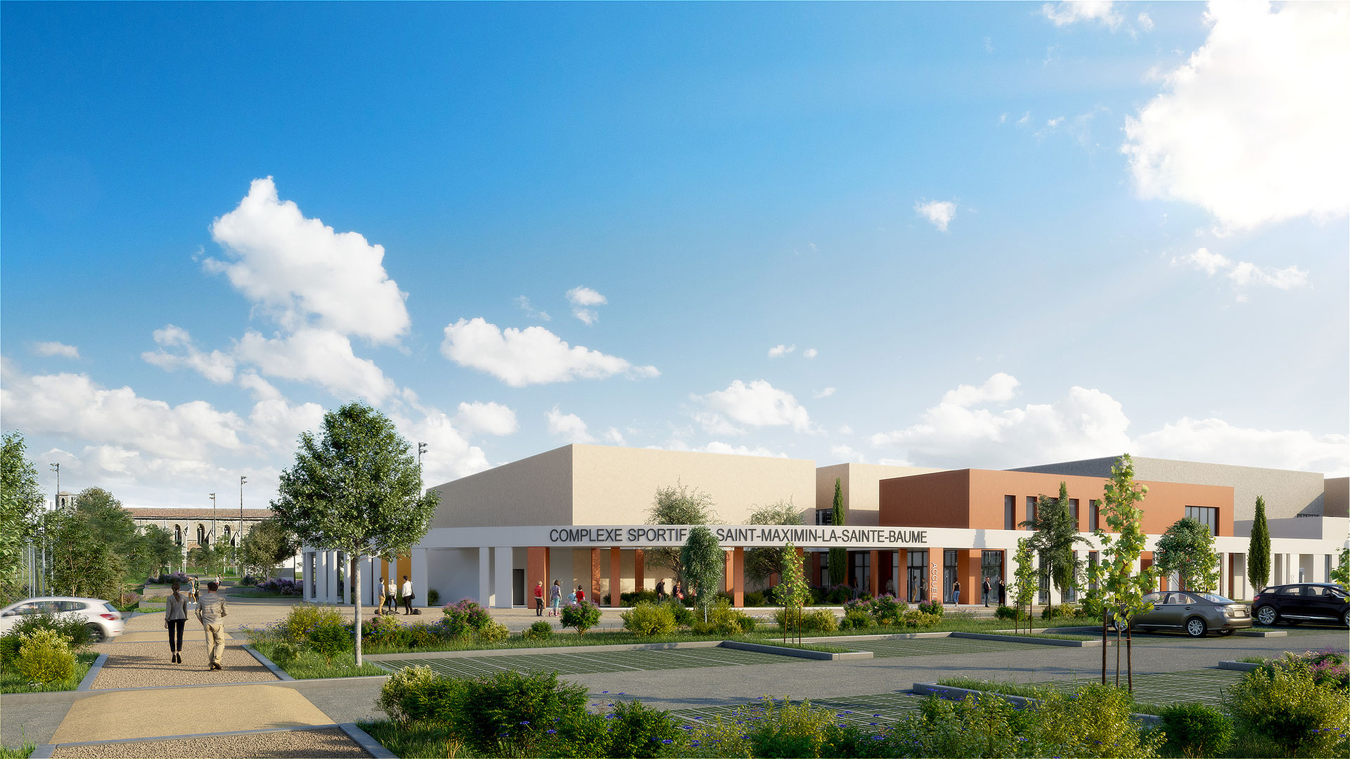 Architectural visualization in 3D of the exterior of a sports centre
