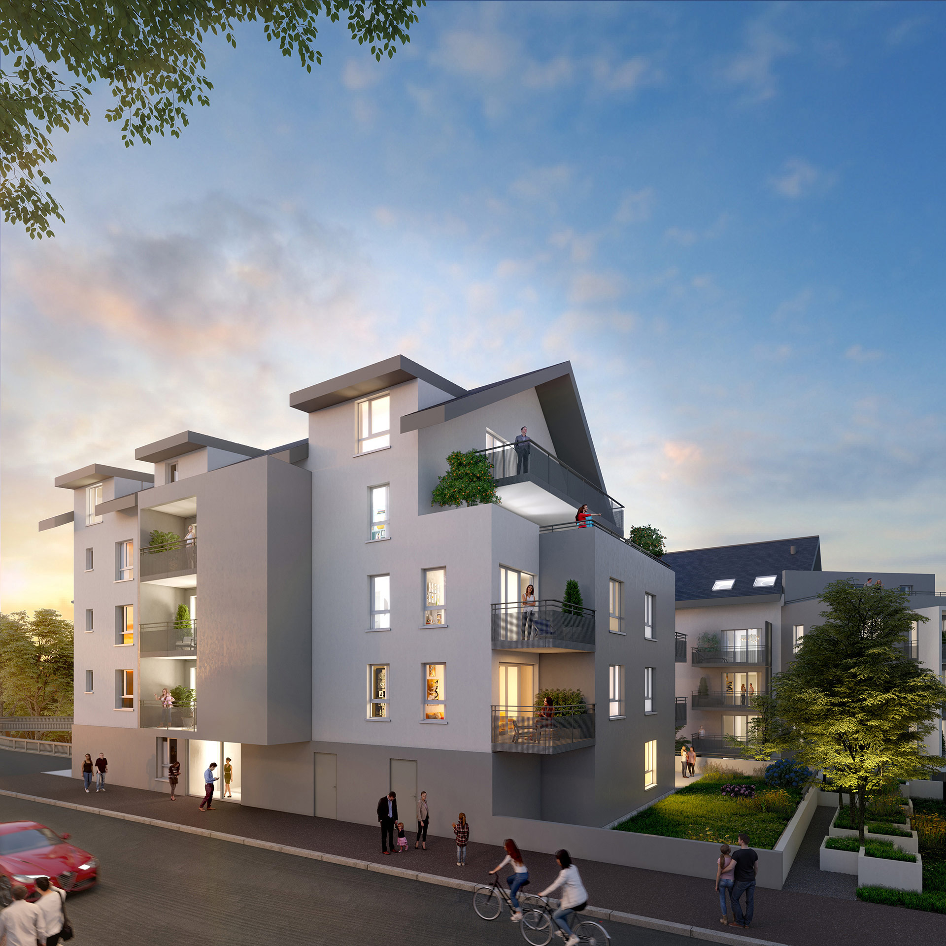 3D Architectural visualization of a building for real estate promotion