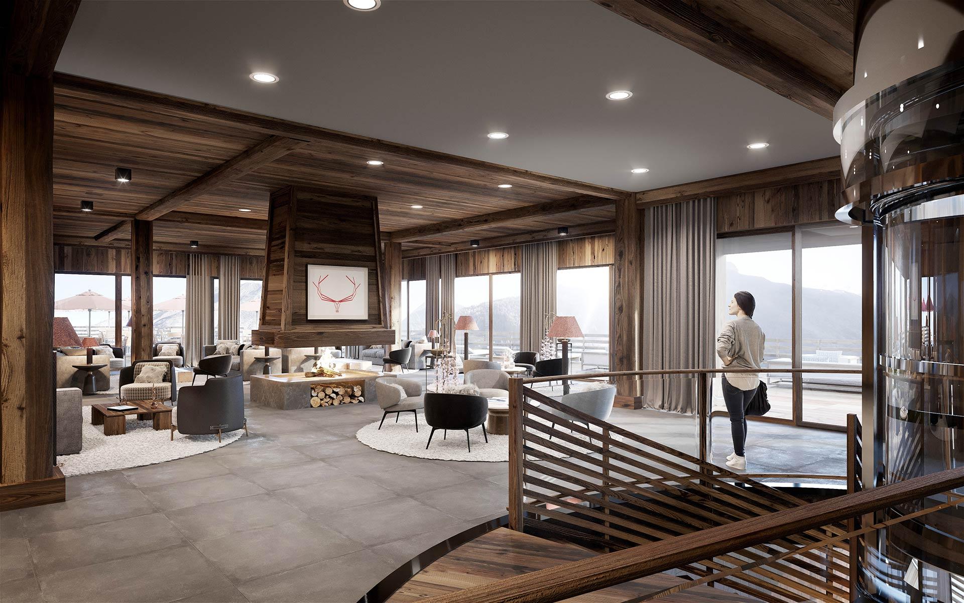 Rendu 3D d'un hall d'hôtel-resort de luxe à Tignes