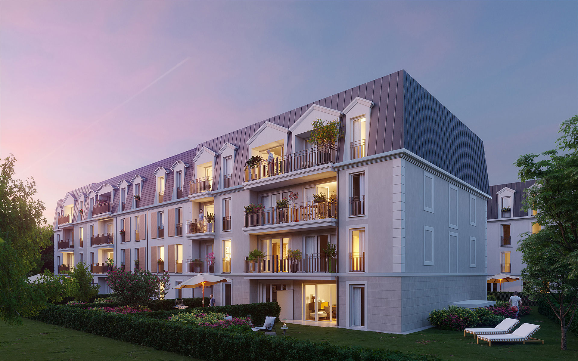3D exterior Render of a new building in a sunset mood for its promotion