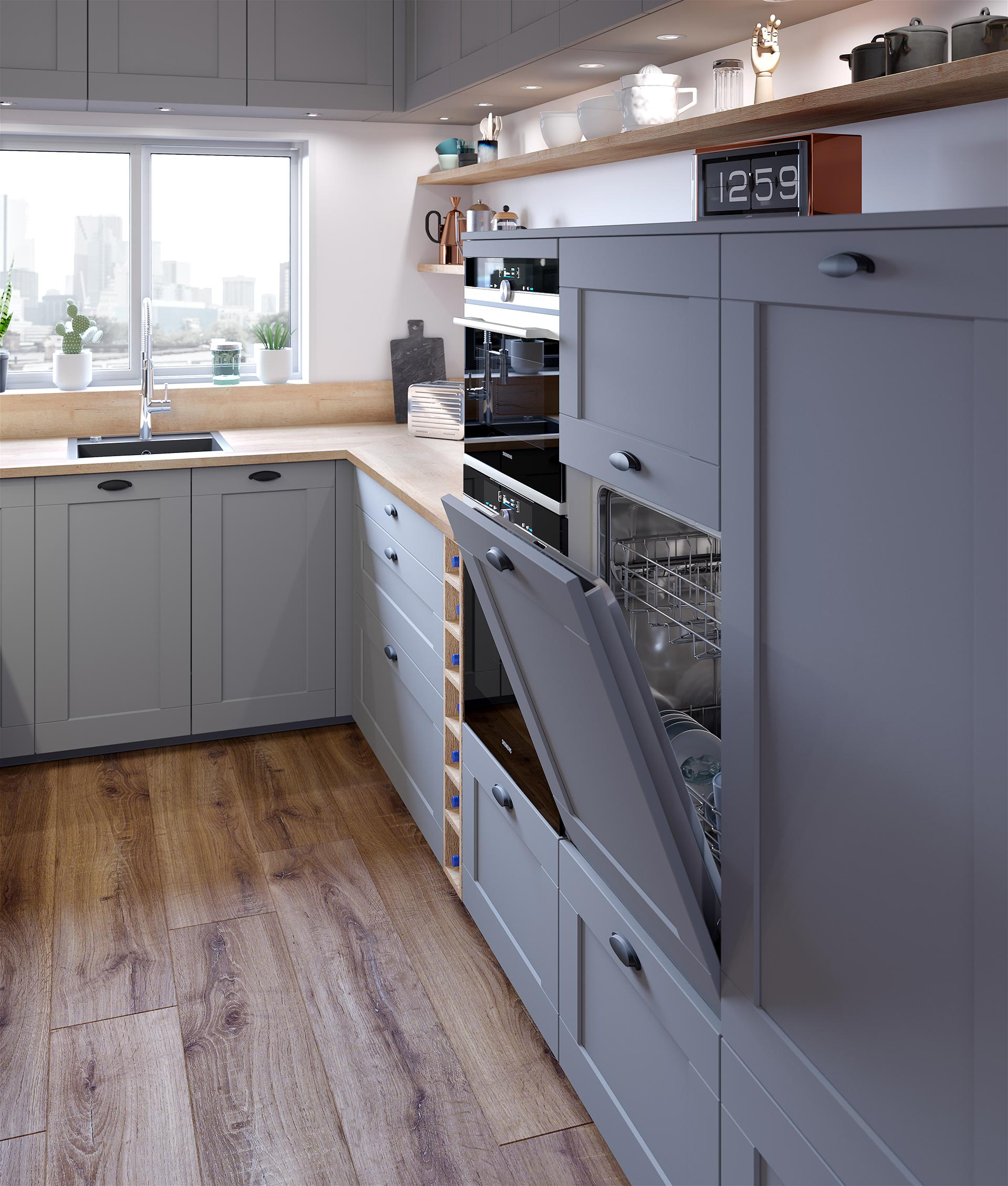 3D perspective of a dishwasher in a brooklyn style kitchen