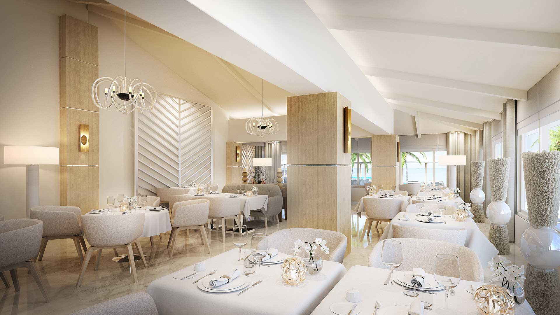 Creation of a 3D perspective of a restaurant made from computer generated images.