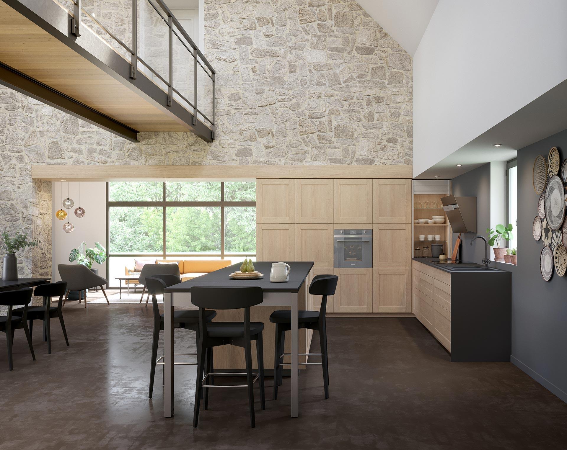 Perspective 3D de l'intérieur d'une maison et de la cuisine pour un projet publicitaire