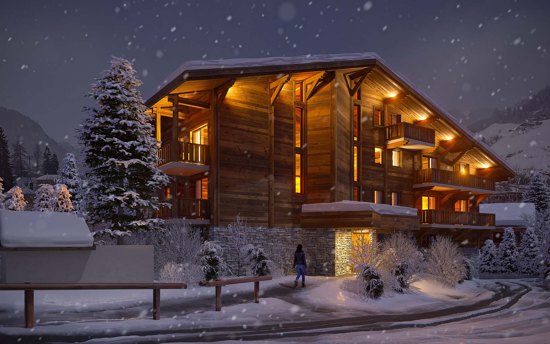 3D Perspective of a luxurious chalet created by the 3D studio Valentin Studio.