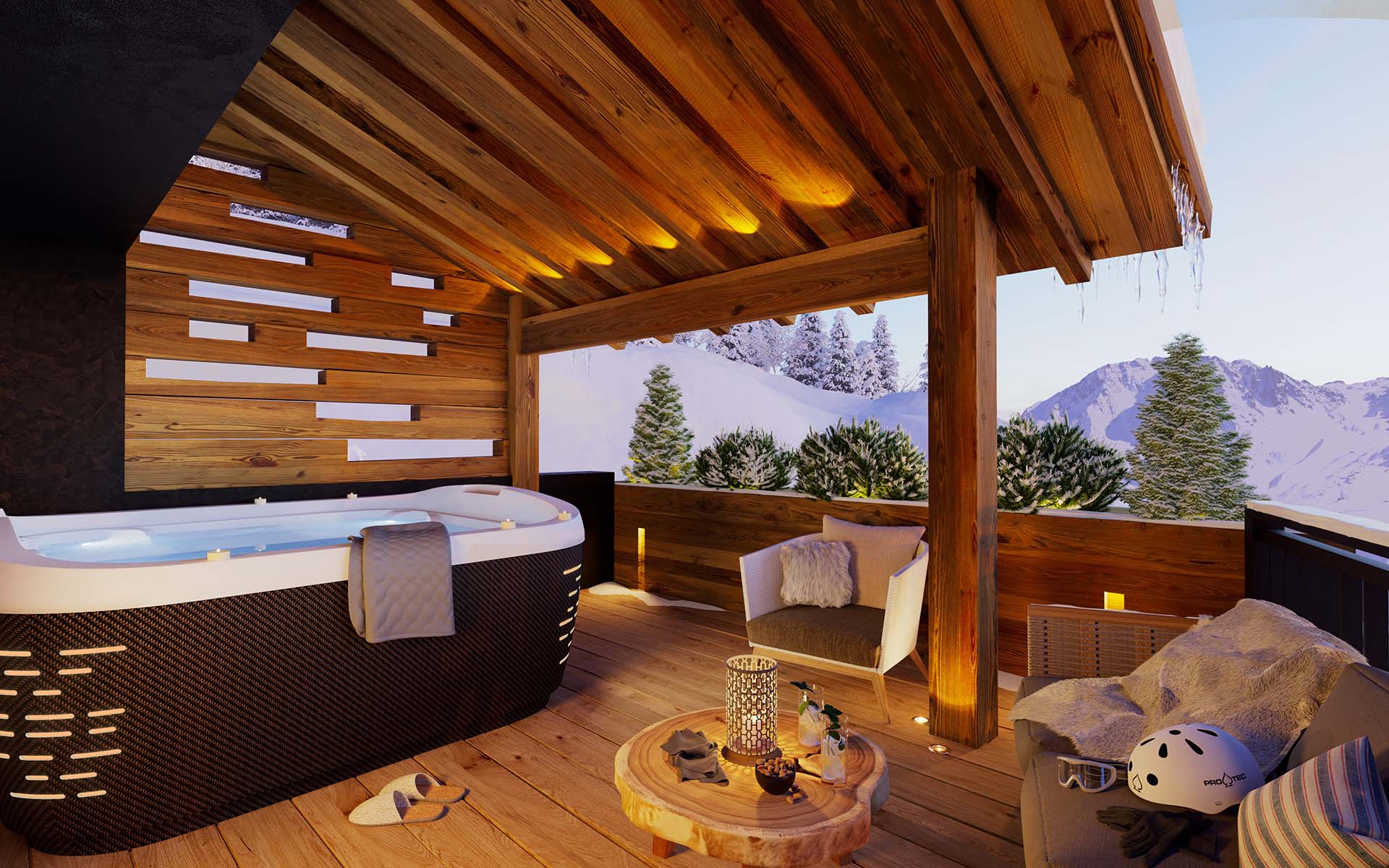 3D Rendering of a terrace perspective of a luxurious chalet created by our 3D computer graphic designers specialized in real estate.