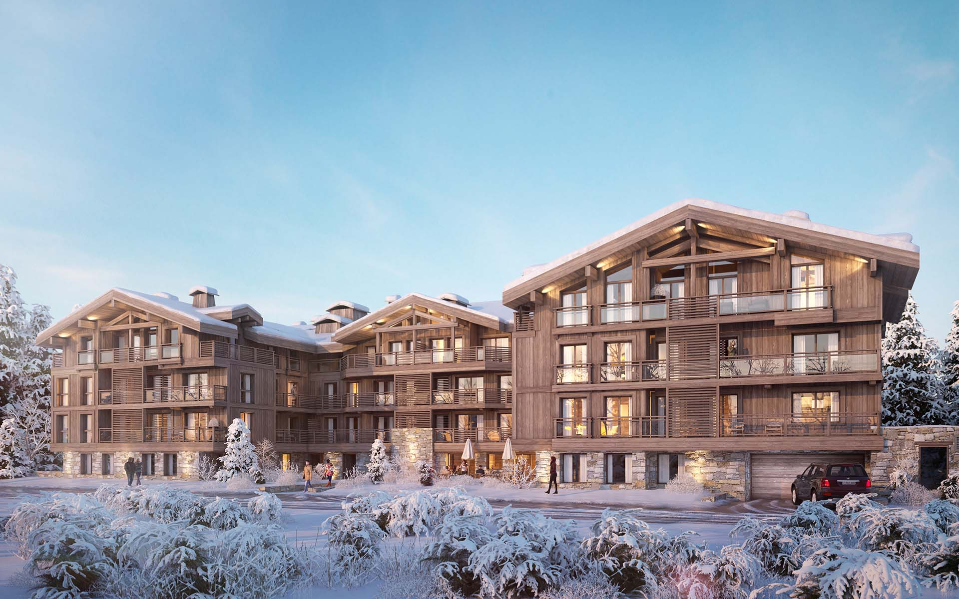 3D architecture Perspective allotment of luxurious chalets