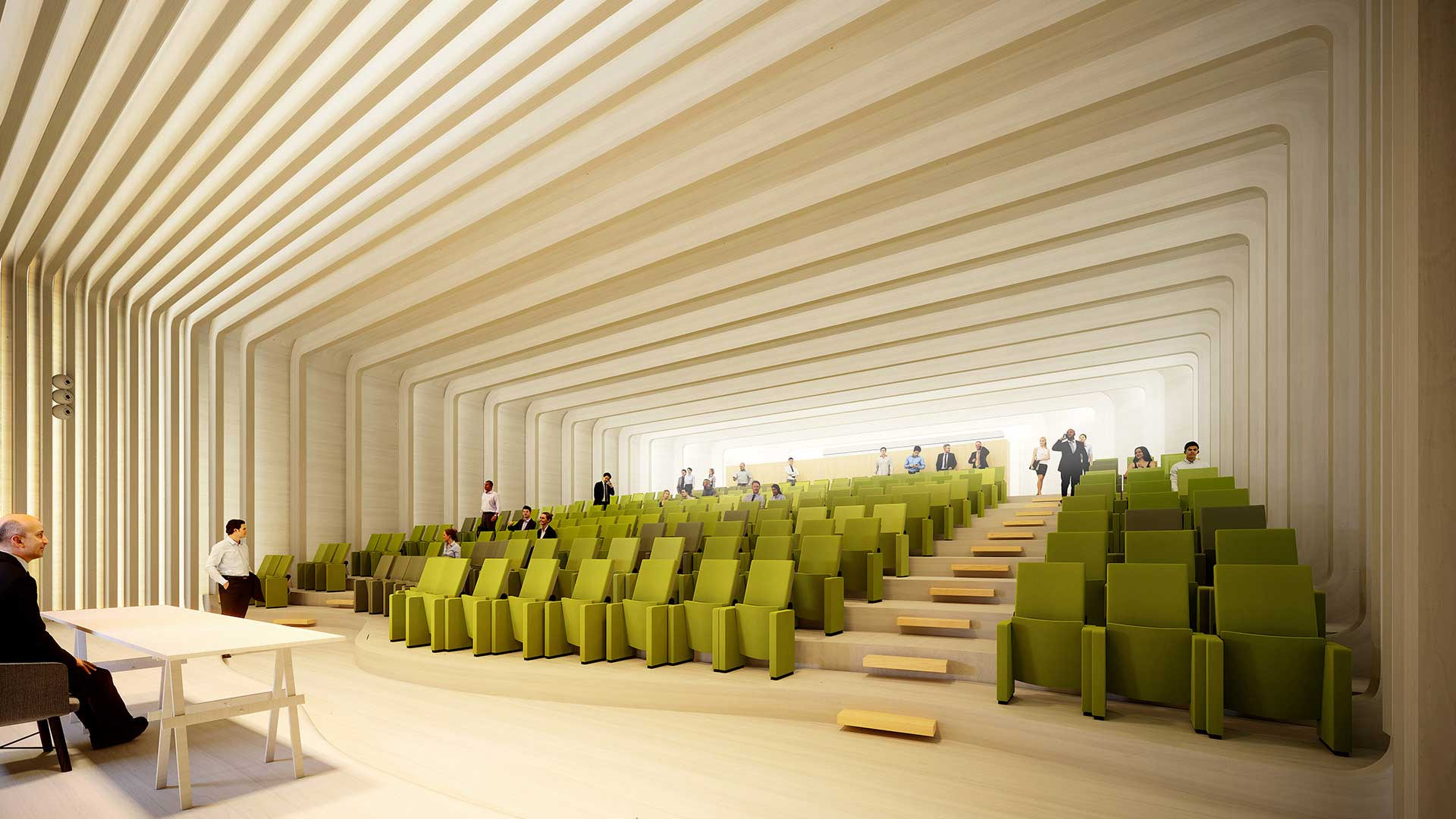 3D Perspective of an auditorium for a 3D infographics contest.