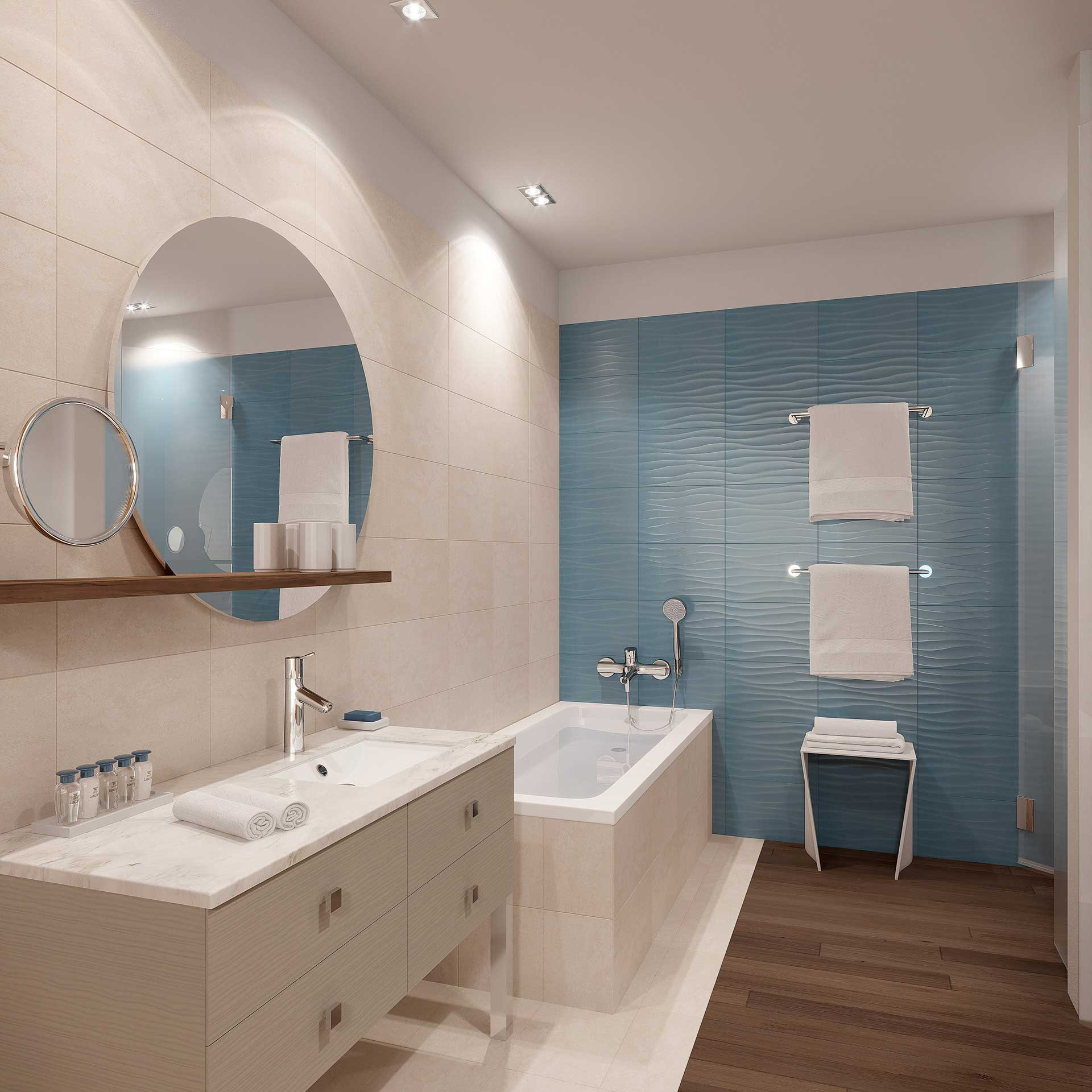 Photo of a 3D rendering of a bathroom created by Valentin Studio 3D.