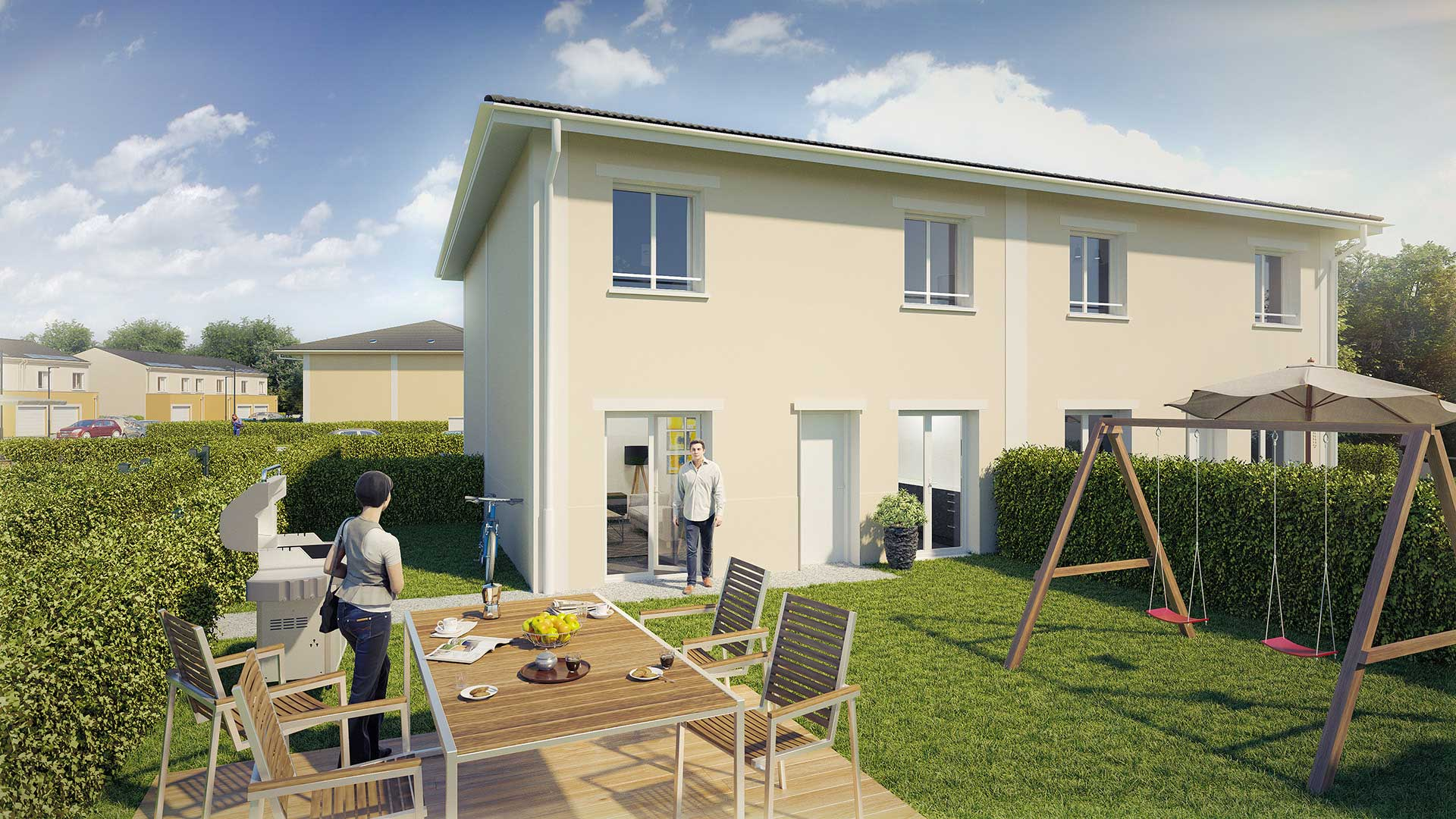 Creation of a 3D image of a terrace for the real estate promotion of the property.