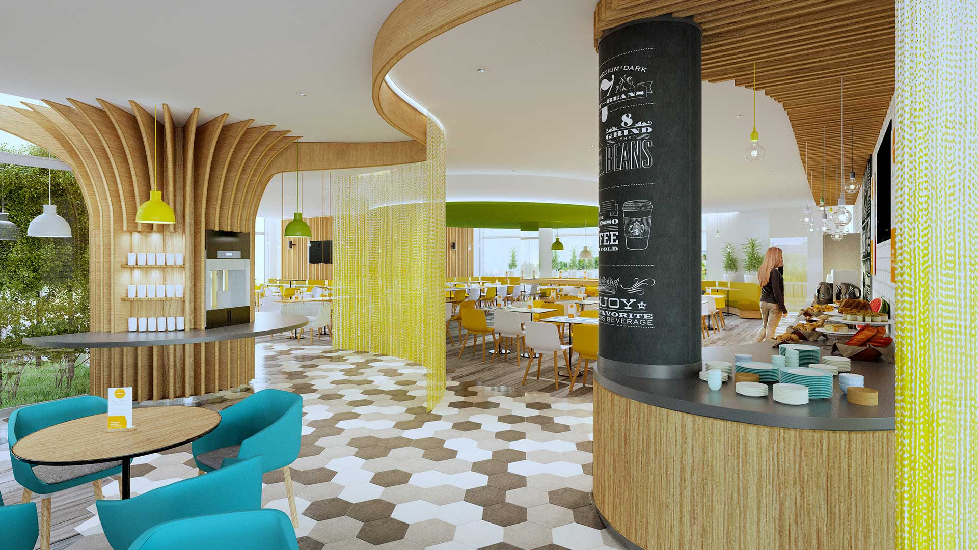 Photo of a 3D rendering of a restaurant made from computer generated images.