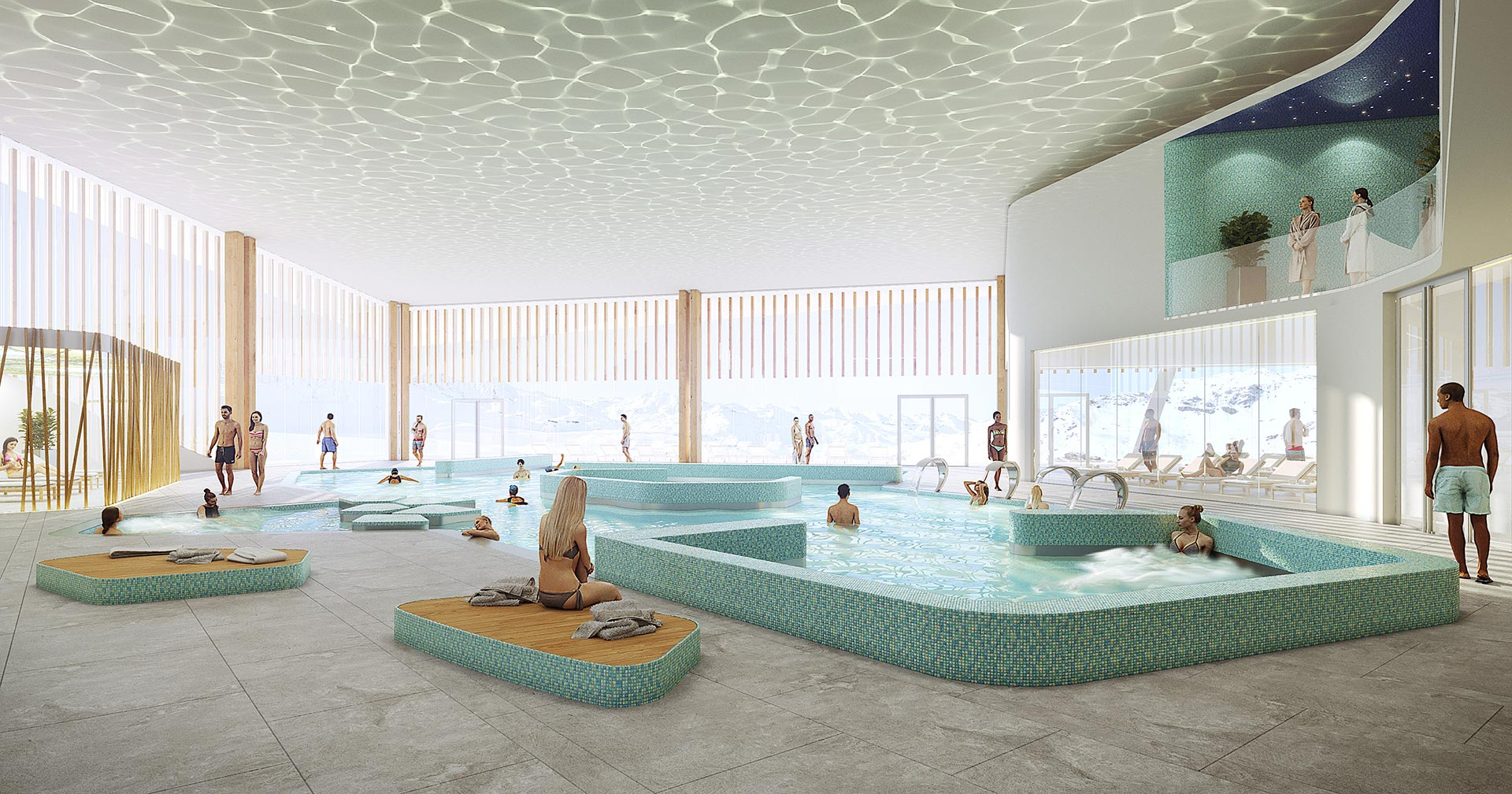 3D perspective of an interior pool for a visualization contest
