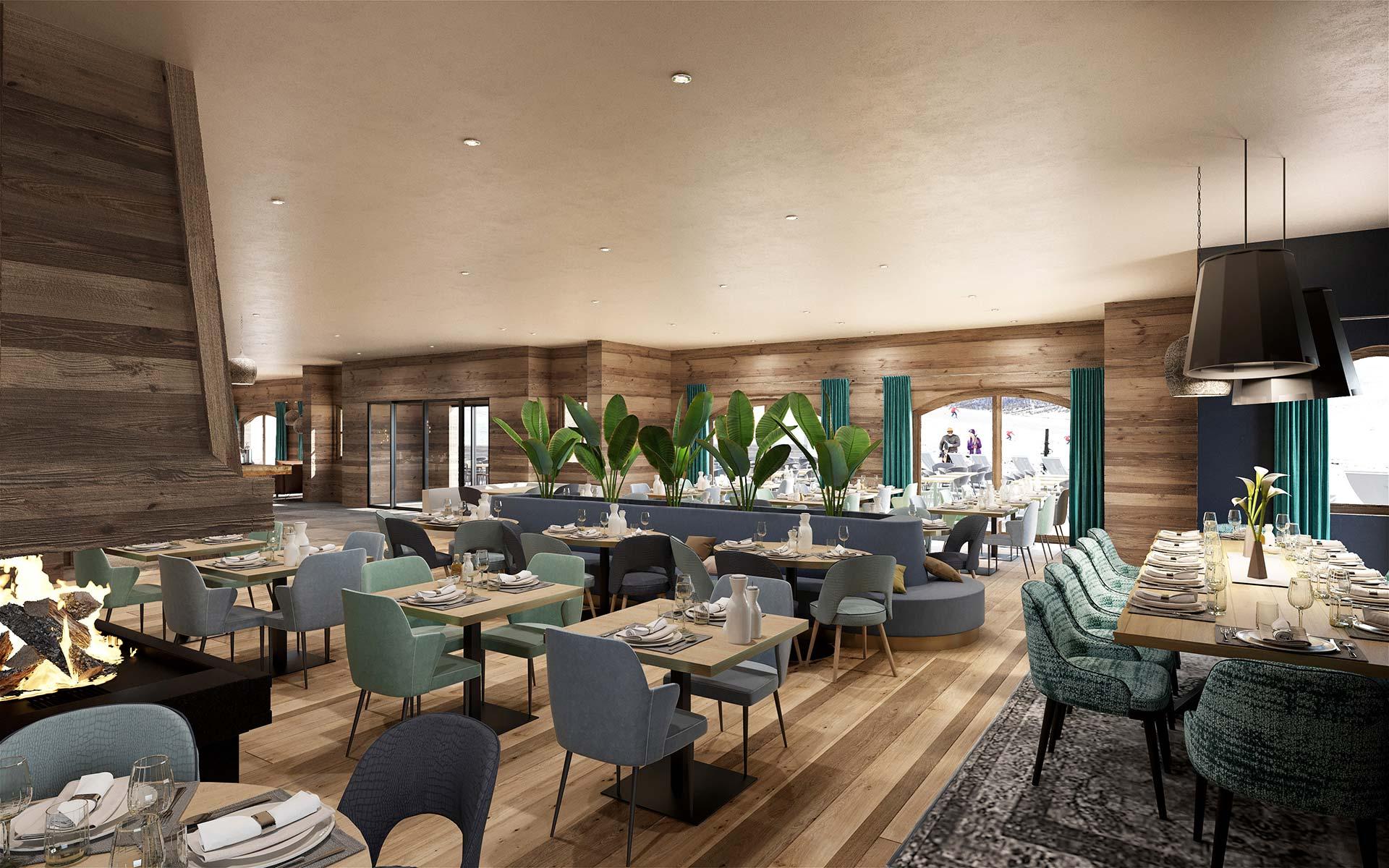 3D interior perspective of a hôtel-restaurant in Méribel
