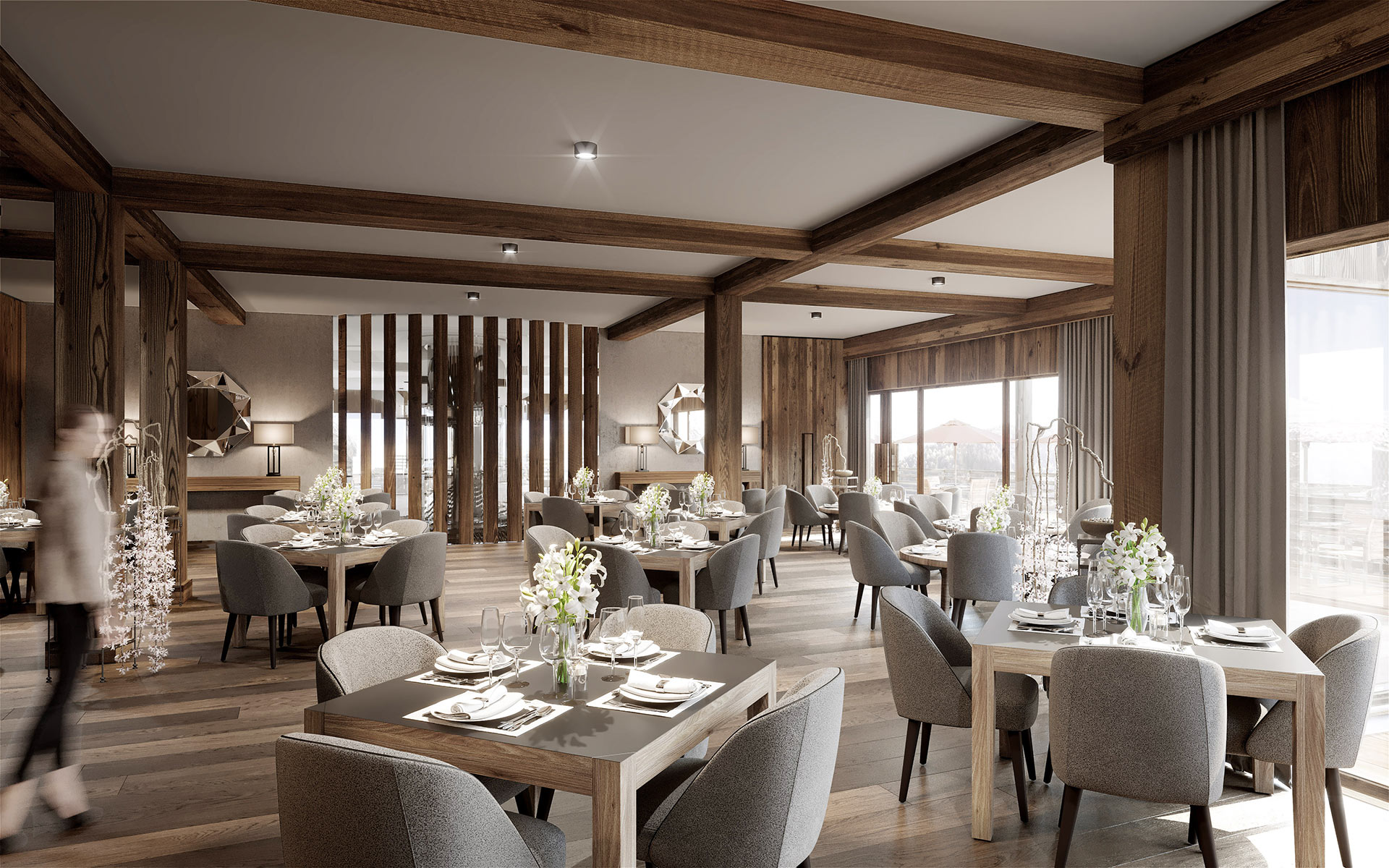 3D Synthesis image of a restaurant in a resort in Méribel