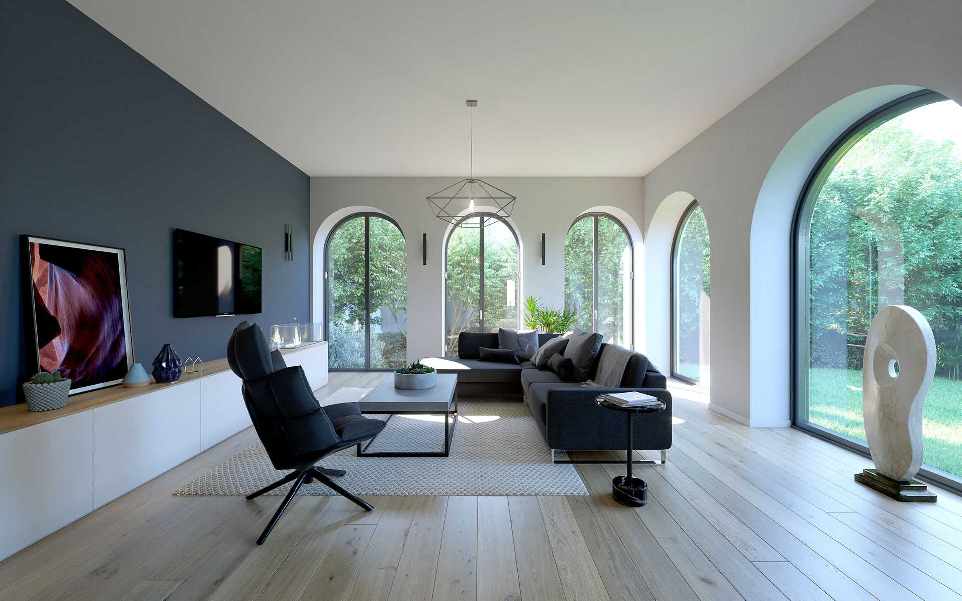 Visualization of a luxury interior for real estate development