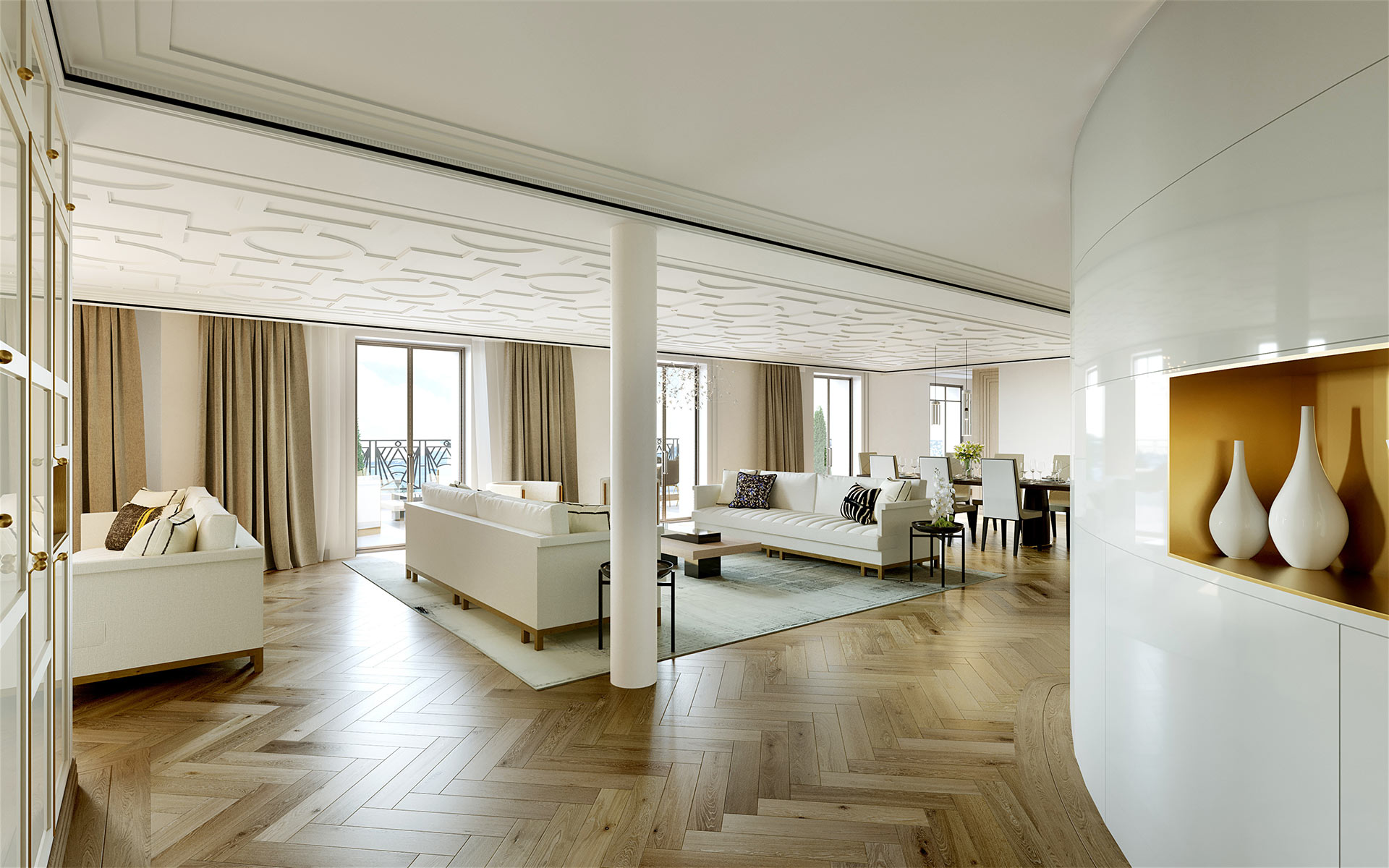 3D perspective of a luxurious living-room in a villa