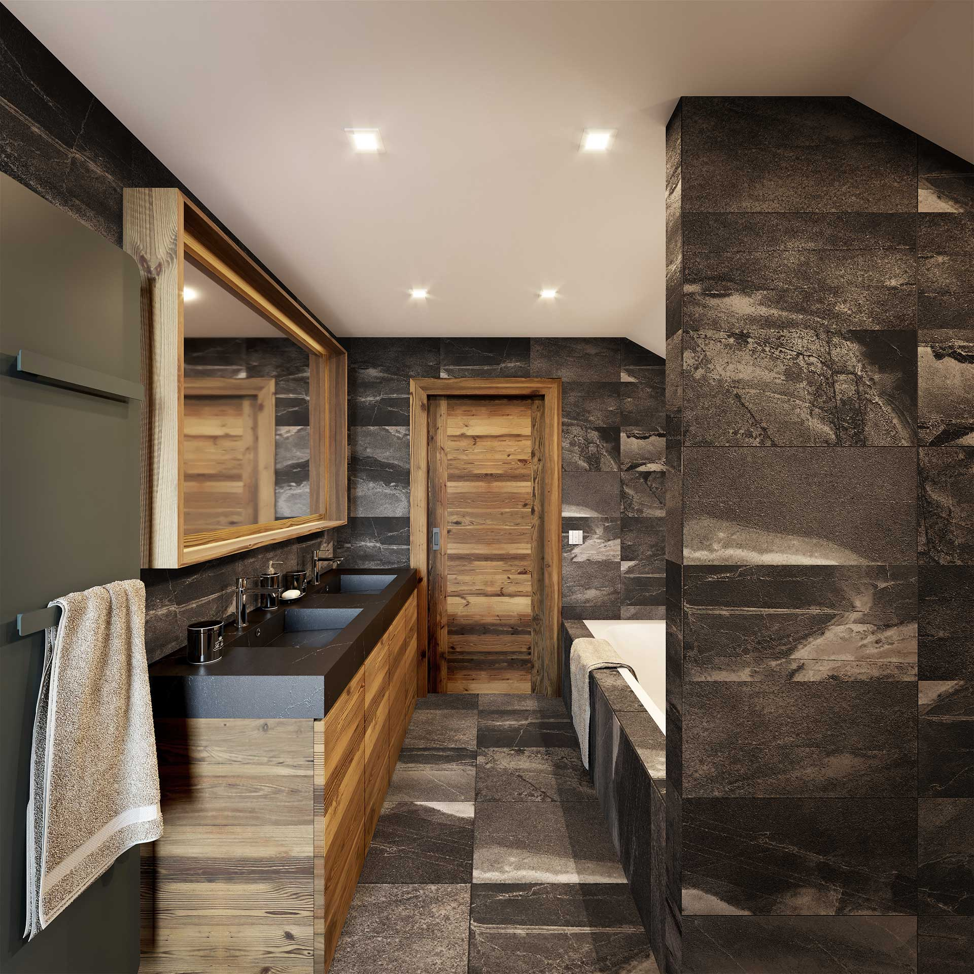 3D Perspective of a luxury chalet bathroom