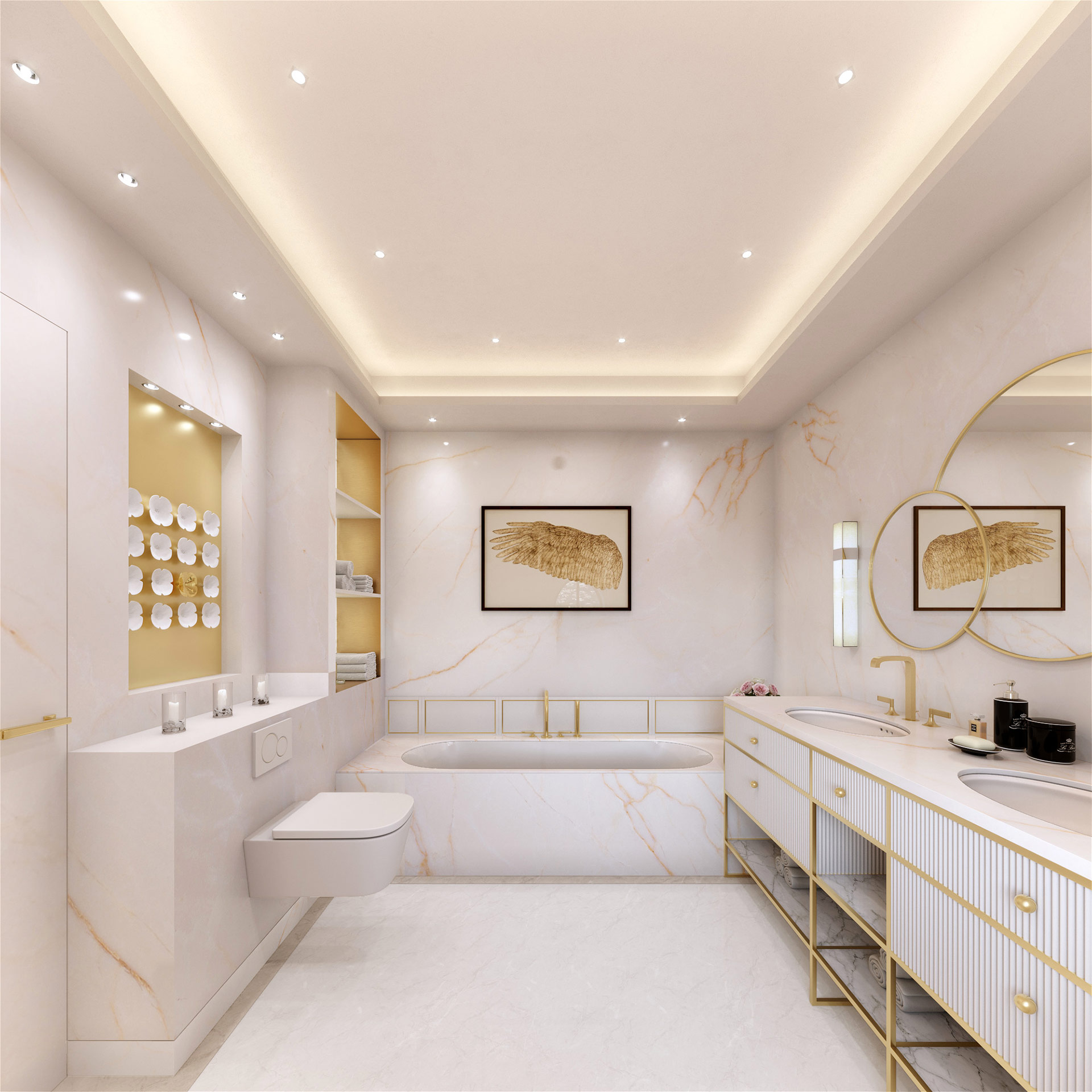 3D interior perspective of a luxurious bathroom in a villa