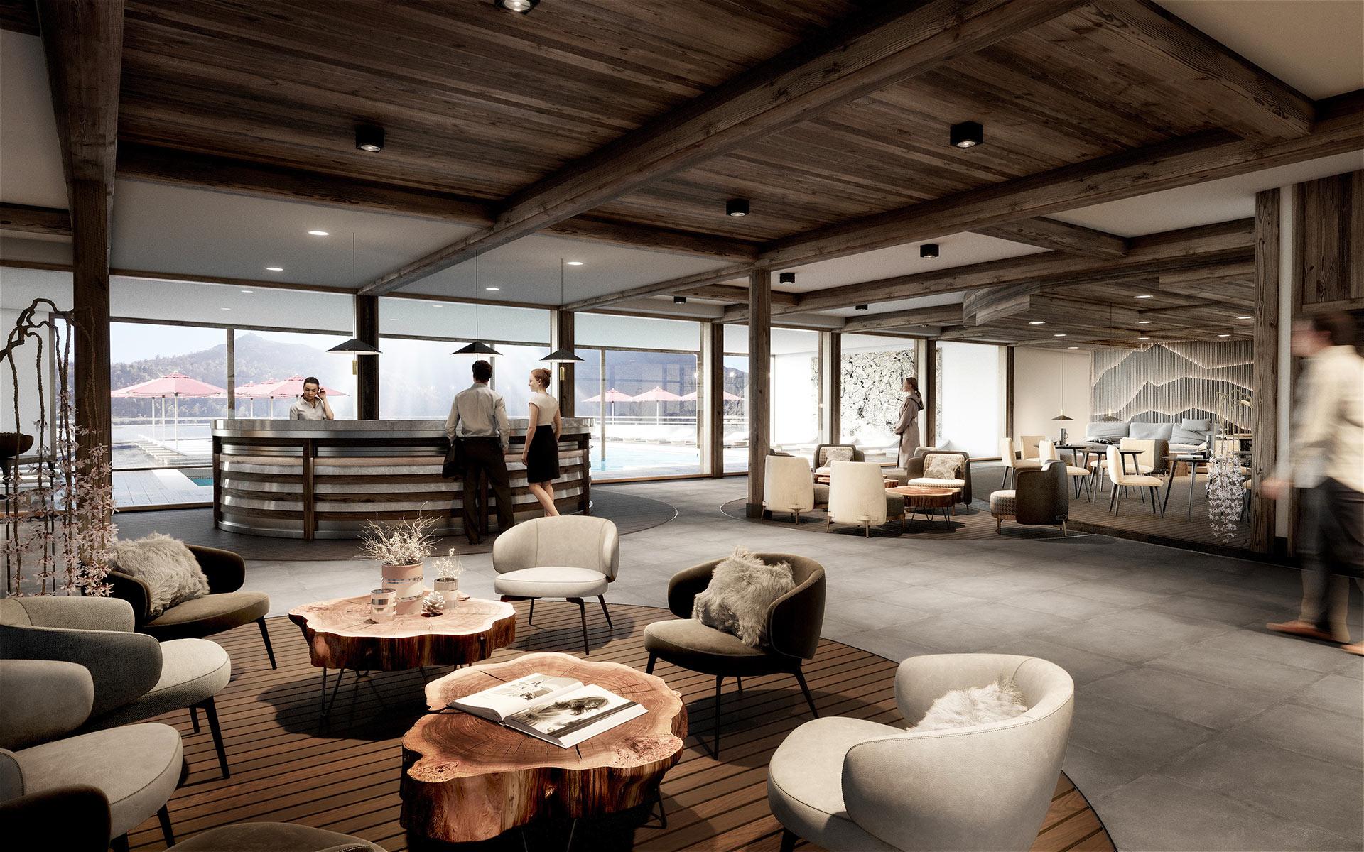 3D interior render of a resort-hotel hall