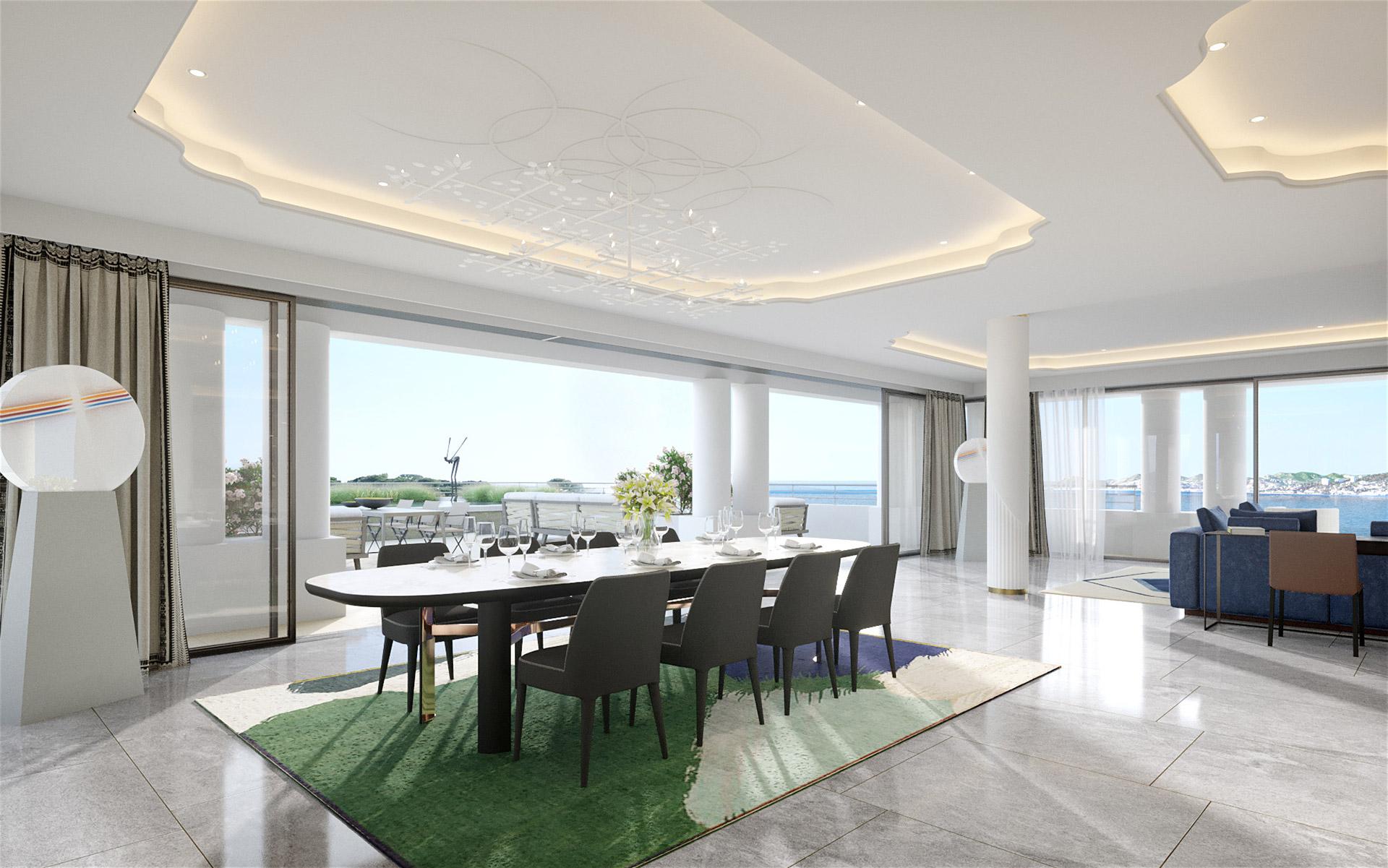 Photorealistic 3D creation of a prestigious villa interior in Cannes