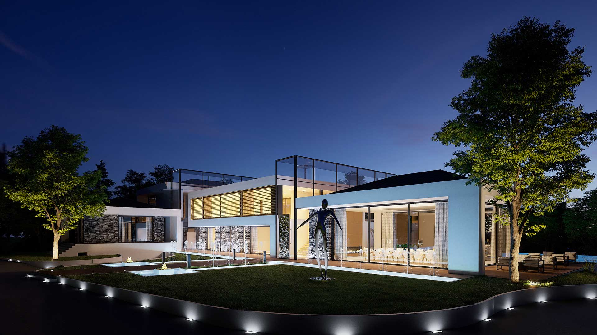 Creation 3D perspective image luxurious Villa in Cologny (Switzerland)