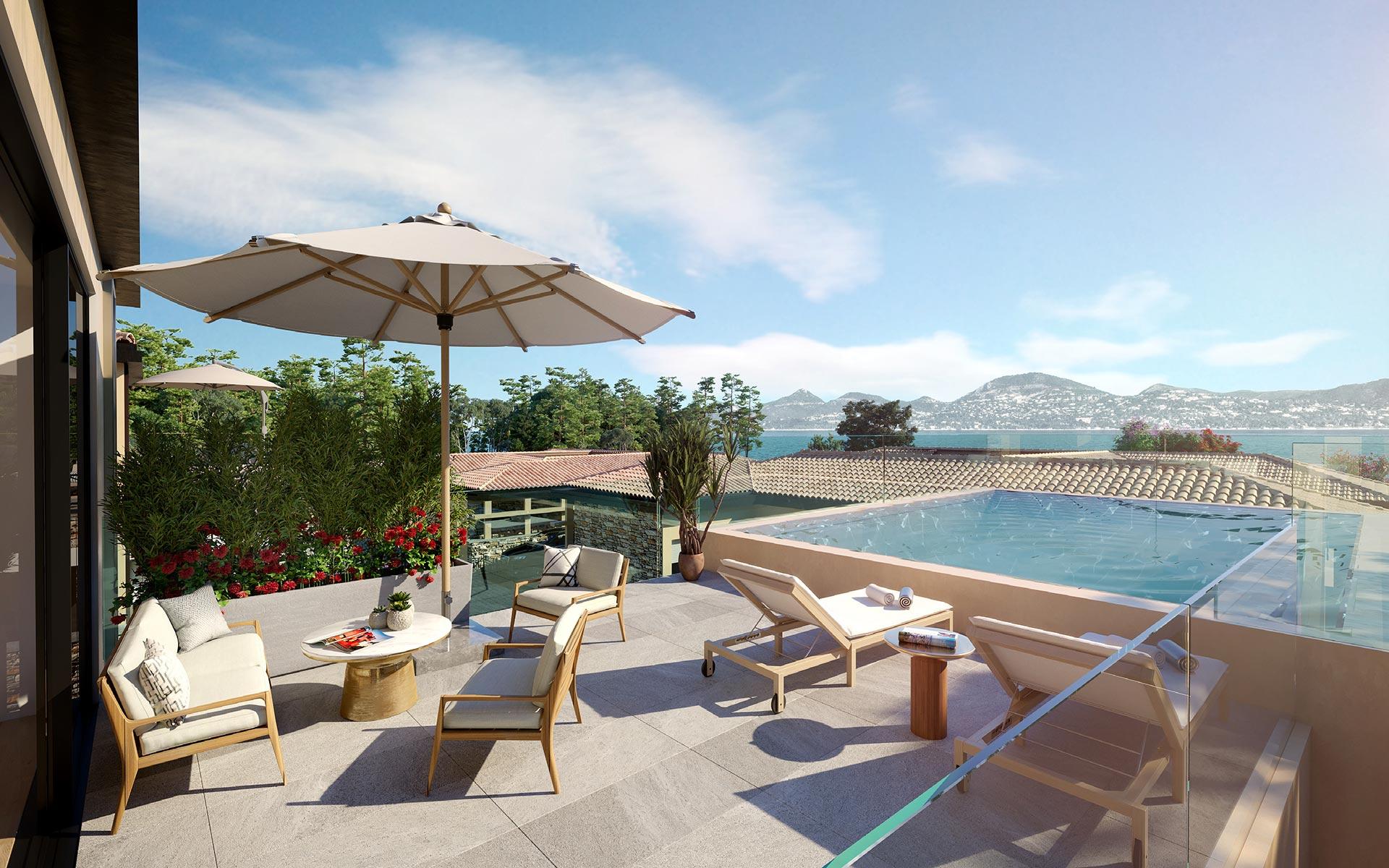 3D luxury terrace perspective in a new villa in saint-tropez
