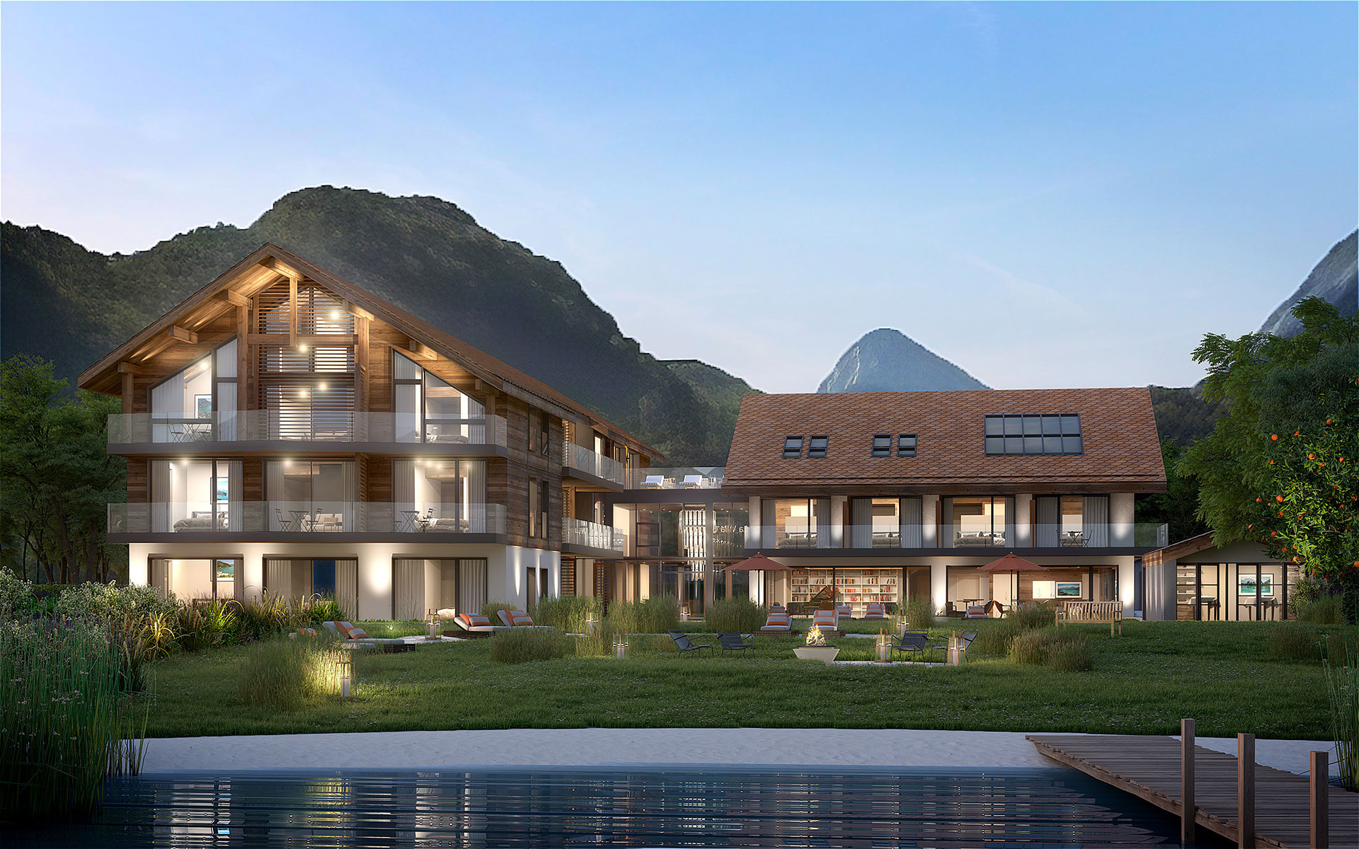 Architectural visualization in 3D of a mansion and yard for property development
