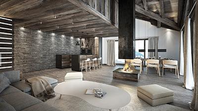 Création d'images fixes 3D d'appartement de luxe pour la promotion immobilière du bien.