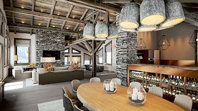 3D Design of a luxurious chalet for real estate promotion.