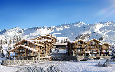 3D creation of a set of chalet-like buildings in the snowy mountain