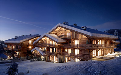 3D computer graphics of a chalet, in the mountains, in winter and at night.