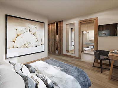 3D visualization of a room in a chalet in the Alps