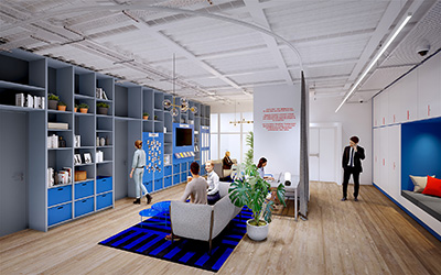 3D representation of a relaxation and coworking space in a company