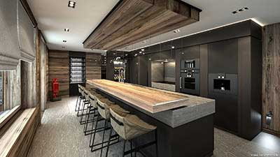 3D Architectural studio : creation of a 3D photo of a luxurious kitchen.
