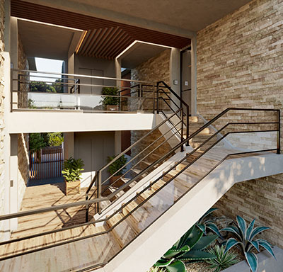 Staircases and entrances of luxurious apartment realized in 3D