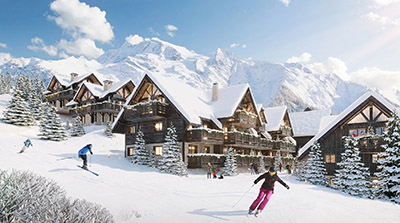 3D computer image of a ski slope and chalets in winter