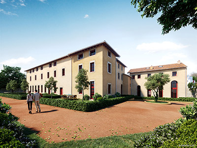 3D photorealistic representation of the exterior of a convent for a competition