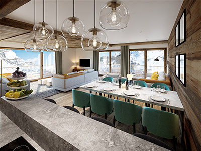 Dining room in a mountain chalet made by 3D graphic designers