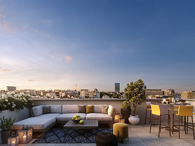 3D rendering of a rooftop in Paris at the end of the day