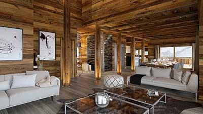 Création d'une image en 3D fixe pour la promotion immobilière d'un salon de chalet de luxe.