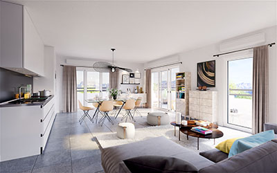 3D image of the living space of a modern apartment