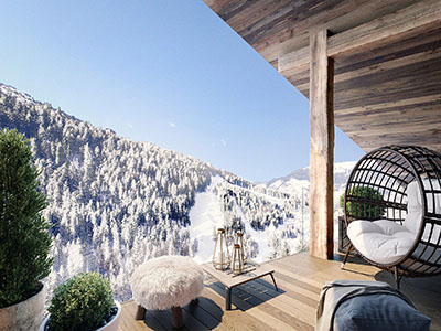 3D creation of a balcony with mountain view in a chalet