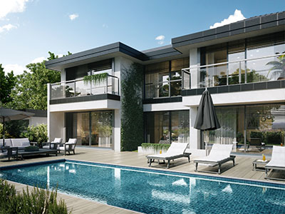 3D graphics of a luxury villa with pool
