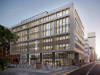 Vue extérieure 3D d'un immeuble de bureaux intégré dans la ville