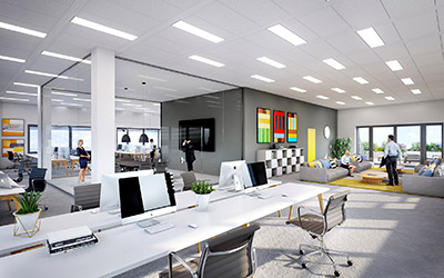 3D synthesis image of open space offices