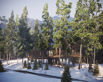 3d visualization of a highend cabin project in a snowy forest
