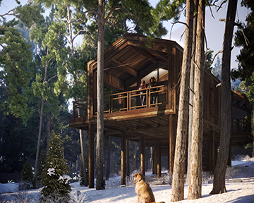 Architectural Visualization - high-end cabin project in a snowy forest