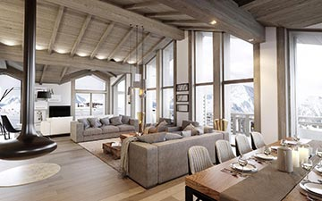 Interior perspective of a luxury chalet apartment