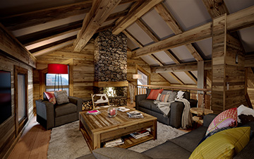 3D interior perspective of a cosy chalet apartment in Morzine